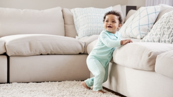 baby and couch